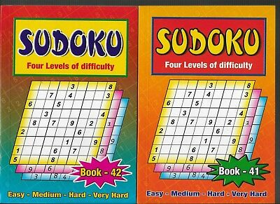 2 Sudoku Books A5 Size4 Levels Of Difficulty Books 41-42 111 Puzzles In Each