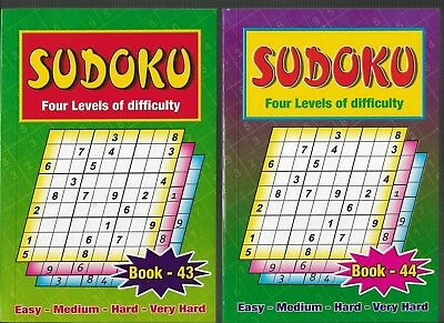 2 Sudoku Books A5 Size4 Levels Of Difficulty Books 43-44 111 Puzzles In Each