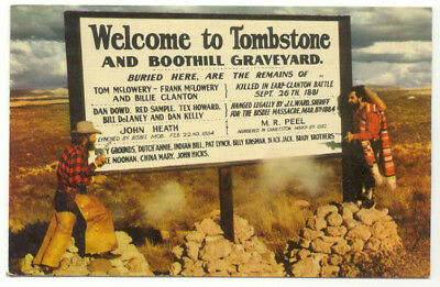 Welcome To Tombstone and Boothill Graveyard Sign AZ Postcard - Arizona