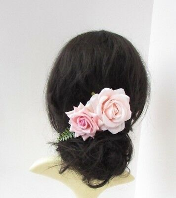 Blush Light Pink Rose Flower Hair Comb Fern Leaf Fascinator Floral Bridal 6557