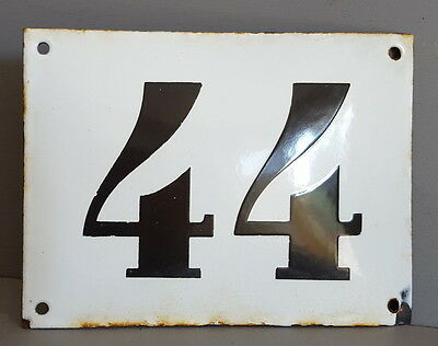 Weathered LARGE ANTIQUE FRENCH ENAMEL DOOR HOUSE NUMBER SIGN Black & white 44