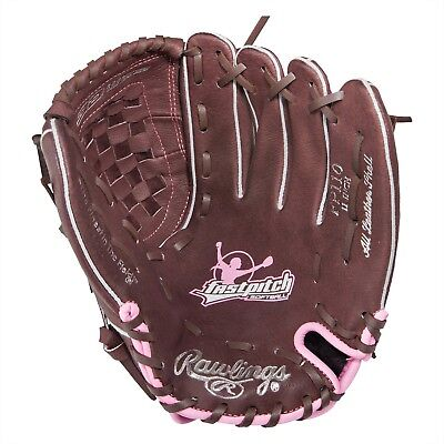 "Rawlings 11"" Softball Fast Pitch Glove Brown Pink Youth Right Hand Throw Leather"