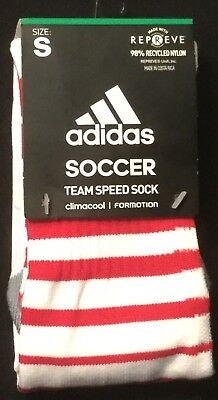 5b81733c4a9c Adidas TEAM SPEED over-the-calf soccer socks WHITE RED small S Youth 13c