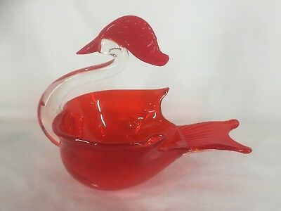 Art Glass Swan Shape Dish (ref Y518)