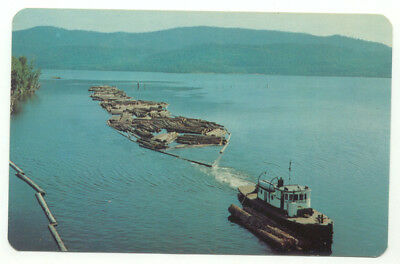 Lake Chatcolet Tugboat With Braille Of 23 Ft. Logs Lumber Postcard - Idaho