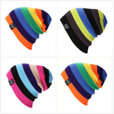 Fashion Men Winter Striped Design Beanie Hat Knitted Hat Beanie Woolen Hats 8C