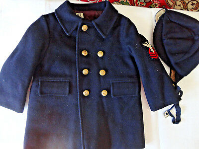 Darling Vtg Boy's Coat Set: Size 3 Navy Wool Nautical W/matching Hat,brass Butto