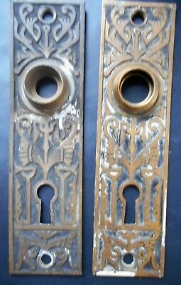 Pair of Antique Eastlake Victorian Brass Door Knob Back Plates from 1870s #2