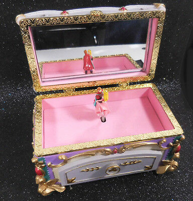 Disney Sleeping Beauty Rectangular Ornate Figural Musical Jewelry Box circa 2002