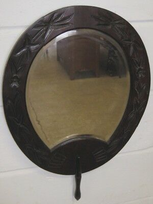 Victorian antique Aesthetic movement carved walnut Japonist fan hall wall mirror