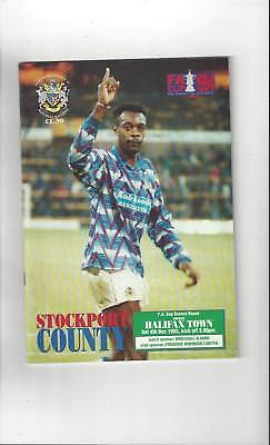 Stockport County v Halifax Town FA Cup Football Programme 1993/94