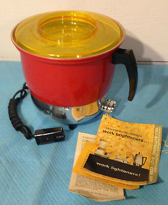 MANNING-BOWMAN POPPY RED 3-Qt POPCORN POPPER—NEW NEVER USED!