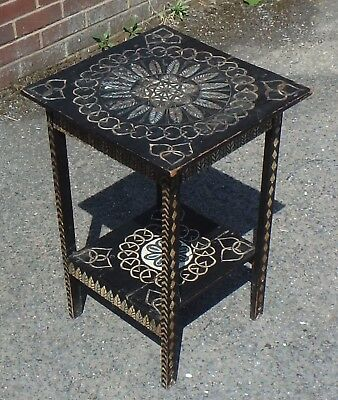 Victorian antique Arts and Crafts solid pine tramp art hand painted gypsy table