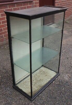 Victorian antique glazed ebonised mahogany shop display collectors shelf cabinet