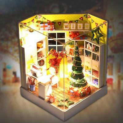 Christmas DIY Handcraft LED Wooden Dollhouse Miniature Furniture Kit Toys Gifts