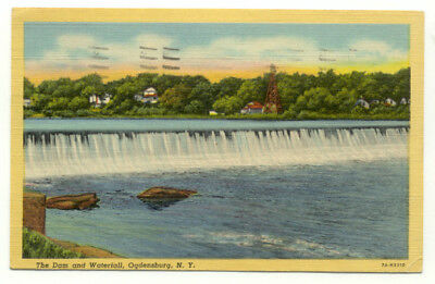 Ogdensburg NY The Dam and Waterfall Linen Postcard - New York