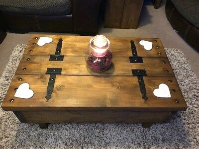 Rustic Coffee Table Storage Trunk Case 110 00 Picclick Uk