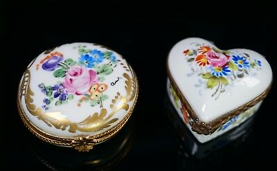 Two Sweet Hand Painted Paris France Limoges Porcelain Boxes Heart and Round