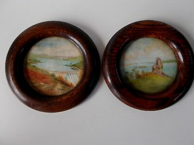 PAIR of OLD English  WATERCOLOR Signed Aquarelles Anglaises Plymouth encadrées