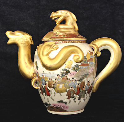 Antique Meiji Satsuma Teapot Painted Figures In Procession, Dragon Ware, Signed