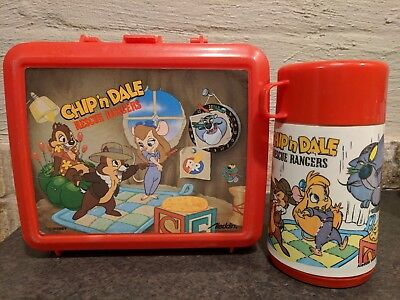 Chip N Dale Rescue Rangers  Plastic Lunchbox Aladdin With Thermos And