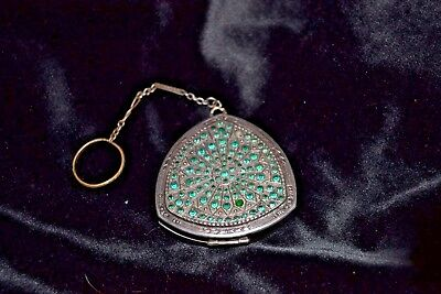Beautiful Antique Art Deco Silver Engraved Compact 1920s Green stones with chain