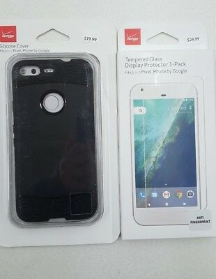 Verizon Silicone Phone Case Cover for Google Pixel With Tempered Protector