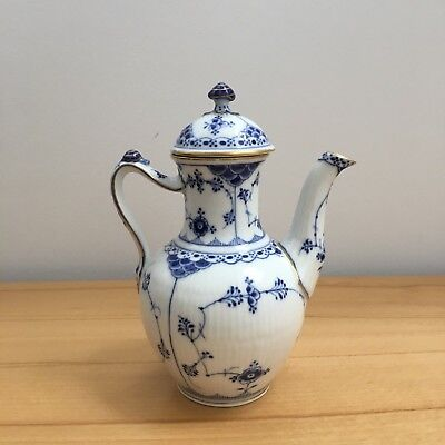 Early Royal Copenhagen Coffee Pot, Blue Fluted Bing & Grondahl, Blue Fluted lace