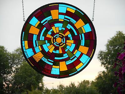 Beautiful Large Round Hand Blown Stained Art Glass Artist Signed Window Panel