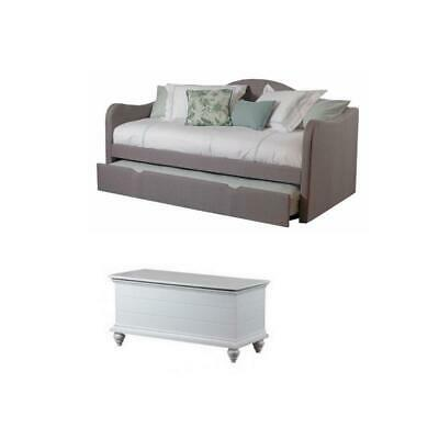 Set of 2 Daybed in Taupe and Cedar Chest in White