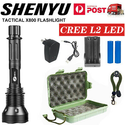 Military 9000LM XM-L T6 LED Rechargeable Flashlight Hunting Torch AU