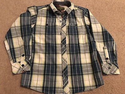 TED BAKER Boys Blue/White/Yellow Check Style Long Sleeve Shirt Age 7 Years