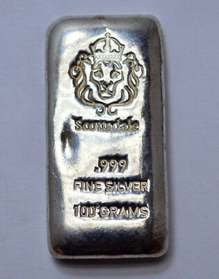 100 Gram SILVER SCOTTSDALE BAR POURED BULLION .999 FINE SILVER !
