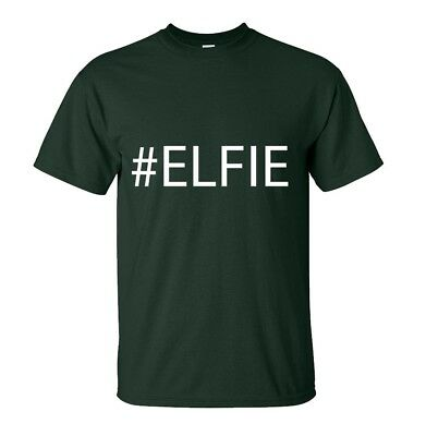 Elf- Selfie- Elfie Christmas T-Shirt - Funny - Adults & Kids Sizes -Forest Green