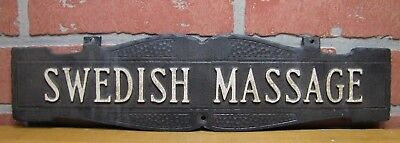 Old SWEDISH MASSAGE Sign Embossed Double Sided Cast Metal Parlor Advertising