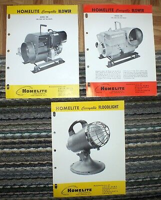 Vintage Homelite Brochures Carryable Floodlight Blower 1960s 44B 20B Pamphlets