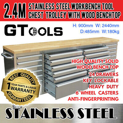 Stainless Steel Workbench Tool Chest with Wooden Top Garage Workshop Auto Shop