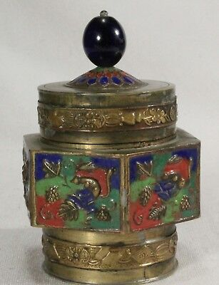 Antique Chinese Tea Caddy /Colorful Fruit Themed