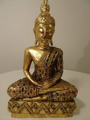 Vintage Hand Carved Buddha with Cut Glass Mosiac Embellishments