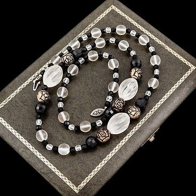 Antique Vintage Art Deco Sterling Silver Plated Frosted Glass Jet Bead Necklace