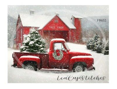 Home for Holiday~Red Truck~Tree Farm~Country~CHRISTMAS~FABRIC PRINT~Block~652