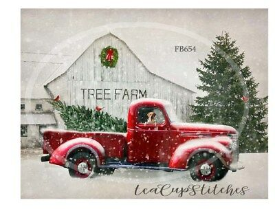 Home for Holidays~Red Truck~Tree Farm~Country~Christmas~FABRIC PRINT~Chevy~654