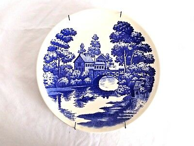 Vintage Blue Nasco Hand painted Dinner Plate Lakeview Pattern, Made in Japan