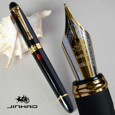 Jinhao X450 Black with Fireworks Fountain Pen 0.7mm Broad Nib 18KGP Golden Trim