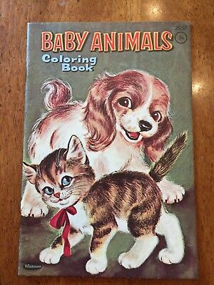 Vintage Baby Animals Coloring Color Book Puppy Kitty Whitman Mini Small