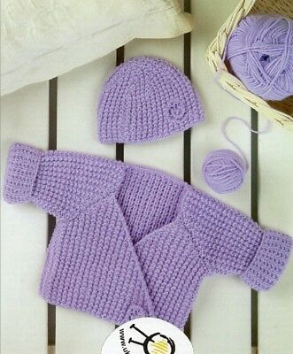 Baby Knitting Pattern Copy Lovely Knitted CARDIGAN + Hat  8 Ply