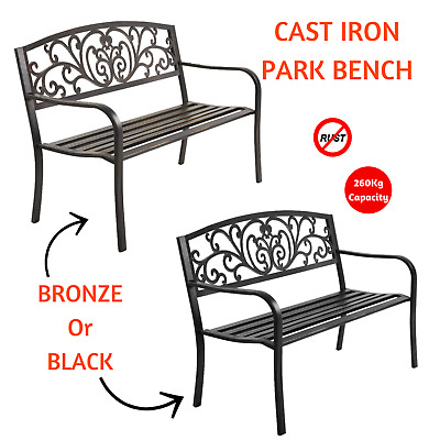 Vintage Look Wrought Iron Style Park Bench Garden Seat Outdoor Patio Seating Cha