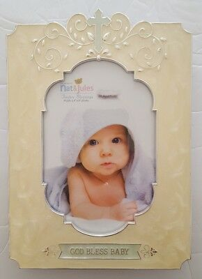 "Nat & Jules God Bless Baby Enameled Picture Frame 4"" x 6"" Photo Tender Blessings"