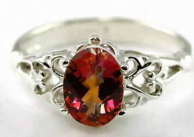 • SR302, 8x6mm Twilight Fire Topaz, 925 Sterling Silver Ladies Ring - Handmade