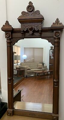 19C Antique Black Walnut Wood Forest Arts Crafts TABERNACLE Picture FRAME